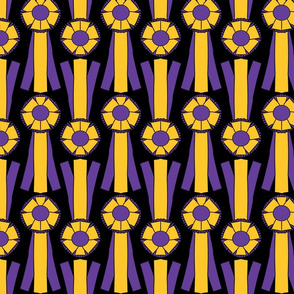Simple Rosettes in purple and gold on black