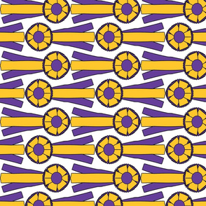Horizontal Simple Rosettes in purple and gold
