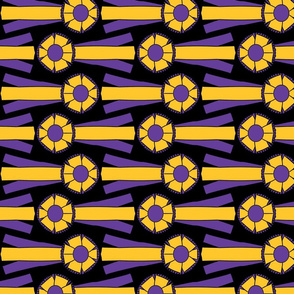 Horizontal Simple Rosettes in purple and gold on black