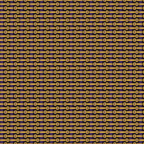 Horizontal tiny Simple Rosettes in purple and gold on blacl