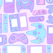 Video Game Controllers in Pastel Colors 2X Horizontal