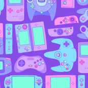 Video Game Controllers in Cool Colors 2X Horizontal