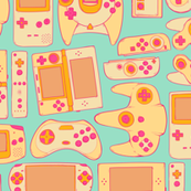 Video Game Controllers in Retro Colors 2X Horizontal