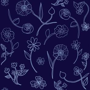 Hand-drawn Flowers Navy