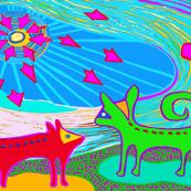 Perros con Estrellas & Sol - Green