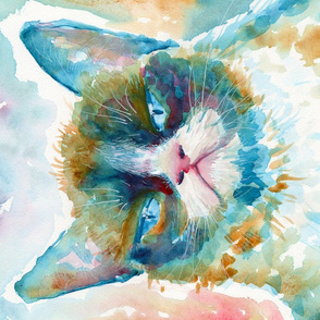 mad catter - grumpy watercolor cat tea towel