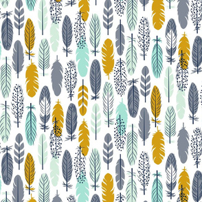 Feathers - Mustard, Mint & Grey