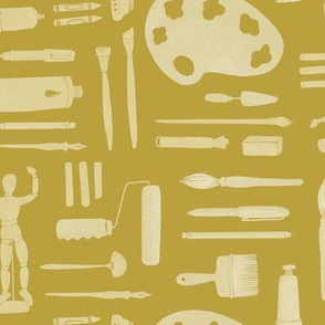 Arts & crafts supplies in mustard