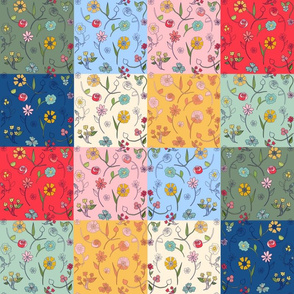 Hand-drawn Flowers Patchwork Quilt