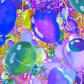 large summer yummy balloons scattered BLUE PURPLE LIME paysmage