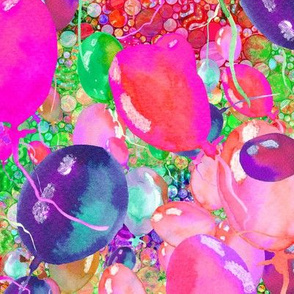 large summer yummy balloons scattered PINK GREEN paysmage