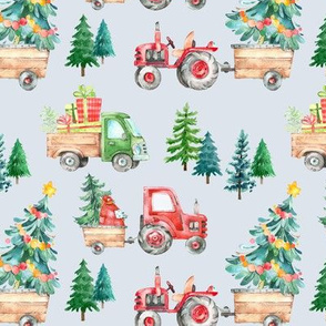 Christmas Tractor Parade // Pale Gray