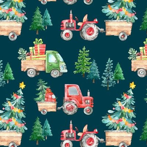 Christmas Tractor Parade // Teal