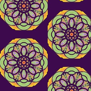 Stained Glass Daisies on Dark Grape