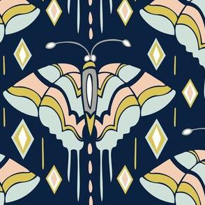 La maison des papillons - Butterflies Navy & Mint