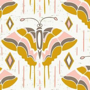 La maison des papillons - Butterflies Blush Pink & Mustard Yellow