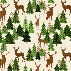 Deer In Pine Woods On Cream
