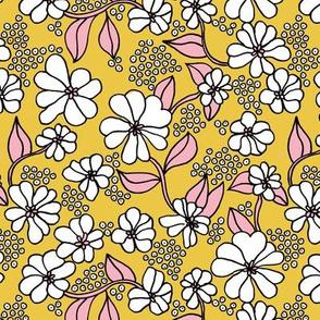 Retro flower blossom daisy love botanical garden branch ochre yellow pink