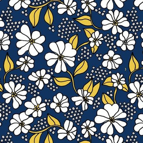 Retro flower blossom daisy love botanical garden branch navy blue ochre yellow