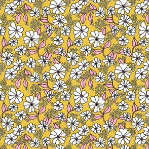 Retro flower blossom daisy love botanical garden branch ochre yellow pink SMALL
