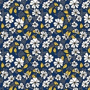 Retro flower blossom daisy love botanical garden branch navy blue ochre yellow SMALL