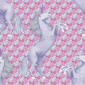Unicorns on pink hearts aqua final