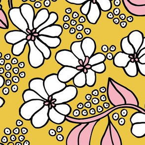 Retro flower blossom daisy love botanical garden branch ochre yellow pink JUMBO