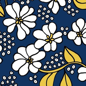 Retro flower blossom daisy love botanical garden branch navy blue ochre yellow JUMBO