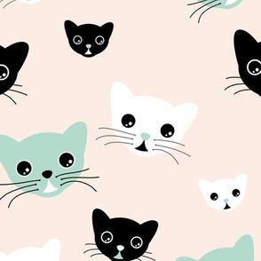 Hello little kitten sweet cat kawaii illustration design mint black white baby boy