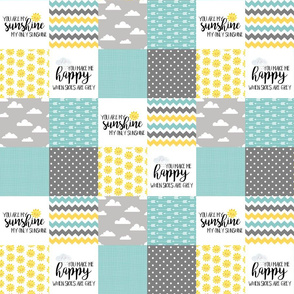 3 inch You are my sunshine//Yellow, Grey, Turquoise - Wholecloth Cheater Quilt