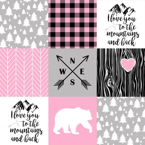 Love you to the mountains & back//Pink, lt Grey, Black - Wholecloth Cheater Quilt