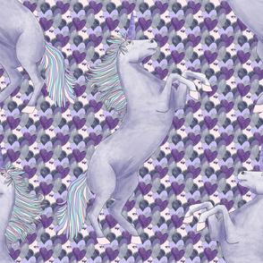 unicorns on Purple Hearts - pink