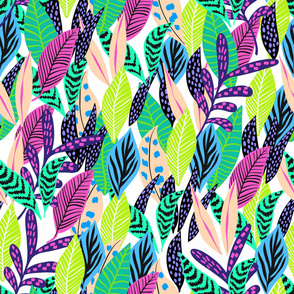 Beautiful exotic forest , leaves collage