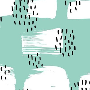 Minimal rain drops and inky brush spots  abstract dashes summer mint black and white JUMBO