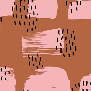 Minimal rain drops and inky brush spots  abstract dashes fall copper pink JUMBO