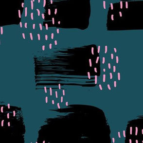 Minimal rain drops and inky brush spots  abstract dashes navy fall winter ocean night pink JUMBO