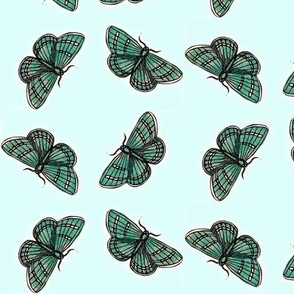 Emerald butterfly tiles