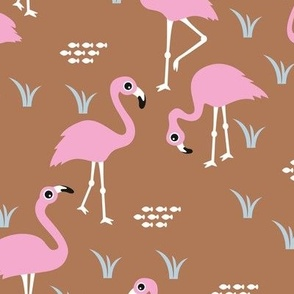 Little Flamingo summer sea beach theme illustration pink copper
