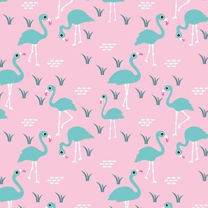 Little Flamingo summer sea beach theme illustration pink aqua blue SMALL