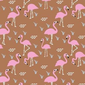 Little Flamingo summer sea beach theme illustration pink copper SMALL