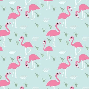 Little Flamingo summer sea beach theme illustration mint green pink SMALL