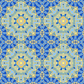 Moroccan Star Flower, Blue, large