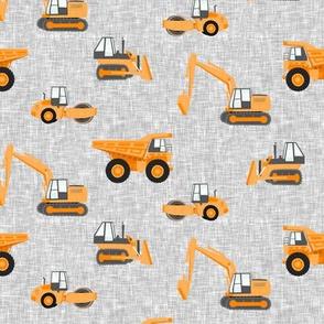 construction trucks - orange on grey linen texture - LAD19