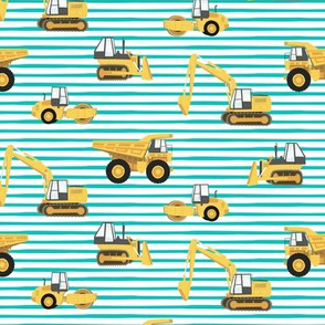 construction trucks - yellow on teal stripes - LAD19
