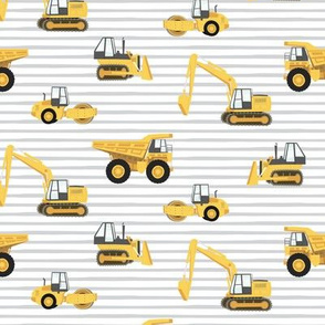 construction trucks - yellow on grey stripes - LAD19