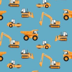 construction trucks - orange on blue  - LAD19