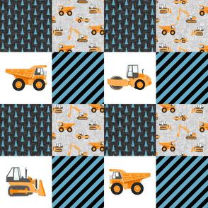 Construction Nursery Wholecloth - construction trucks - blue & orange  - LAD19