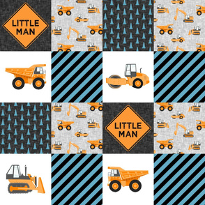 Little Man - Construction Nursery Wholecloth - orange and blue - LAD19