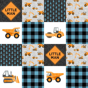 Little Man - Construction Nursery Wholecloth - orange and blue plaid  - LAD19