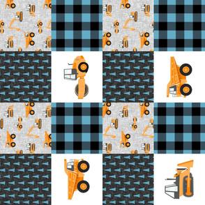 Construction Nursery Wholecloth - construction trucks - blue & orange plaid (90)  - LAD19